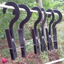 checkysdeals hook drip dry clothes pins hangers black set of six - coil spring