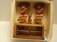 VINTAGE CHINESE BOX WOOD HAND CARVE 2BEAR AND 1MONKEY DANCING HAND MADE