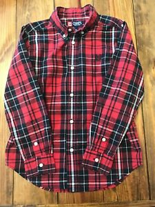 Chaps Youth Boys Red Black Plaid Button Up Shirt Size 7