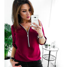 Fashion Womens V-Neck Zipper Pleated Loose Shirt Ladies Long Sleeve Tops Blouse