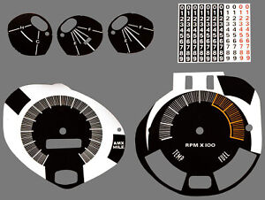 Premium Dash Decal 70 AMC Javelin AMX FULL KIT 140MPH with TACH BLACK/WHITE