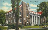 Forty Fort Pennsylvania~Community Building~1940s Linen Postcard