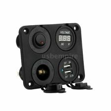 Car Boat Dual USB Socket Voltmeter Power Socket ON-OFF Switch 4 Hole Panel (85)