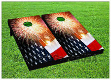 VINYL WRAPS Cornhole Boards DECALS USA FLAG  Bag Toss Game Stickers 811