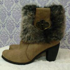 Womens Faux Fur Ankle Boots US Size 9 Beige Gray Vegan Faux Suede Heels Reneeze