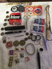 New listing Junk Drawer Lot. Silver Coins! Stamps! Vintage Thermometer!