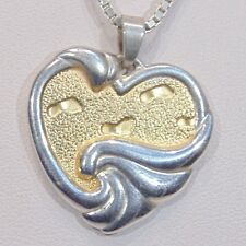 Signed Gorham sterling silver 2 tone religious footprints heart pendant necklace
