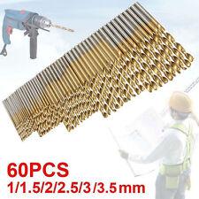 60 Pcs Lot Micro Drill Bits Metric Size 1mm, 1.5mm, 2mm, 2.5mm, 3mm, 3.5mm HSS