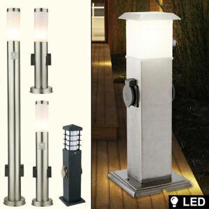 LED Außen Steh Leuchte Erdspieß Garten Lampe SENSOR Steckdosen Stromverteiler