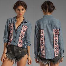 Free People 'Born Free' Chambray Bandana Inset Button Down Shirt Blouse ~Size XS