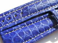 22mm Breitling Band P557 22/18 Croco blau blue Strap für Dornschliesse 005-22
