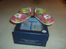 Robeez Tredz girls soft leather pink flower t-strap shoes flexible sole 12 16mo