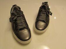 Lanvin Cap-Toe Metallic Olive Green Leather Low-Top Basketball Sneakers / 37