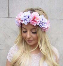Light Pink Lilac Purple Peony Flower Garland Headband Hair Crown Festival 2667