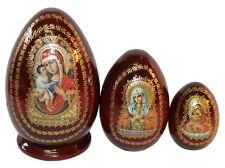 3 EGG SHAPED RUSSIAN NESTING MATRYOSHKA DOLLS/ZHIROVITSKAYA VIRGIN MARY 13 cm