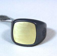 David Yurman Men's Cushion Signet Ring Black Titanium 18K Gold Size 11 $1295 New