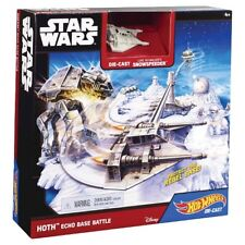 STAR WARS HOT WHEELS HOTH ECHO BASE BATTLE Snowspeeder Starship Playset Toys NEW