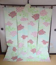 Japanese vintage Kimono Furisode Silk Women Light green Geisha Wedding /108
