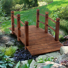 More details for wooden garden bridge lawn décor stained finish arc outdoor pond walkway uk