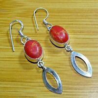 "925 Sterling Silver Plated RED COPPER TURQUOISE EARRINGS 2.25 "" Inches SER33"