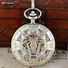 Silver Spider Antique Pocket Watch Skeleton Windup Mechanical Chain Steampunk