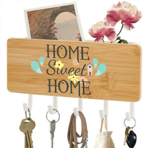 Home Sweet Home Design Wooden Key Holder Mail Rack Wall Mount Hooks Organizer