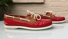 Sperry Top-Sider Boat Shoes - Red Patent Leather & Tan Brown - UK 6M - VGC