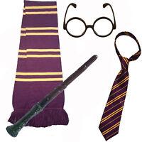 Disfraz de Mago Escolar: Varita mágica, Corbata, Bufanda y Gafas Redondas