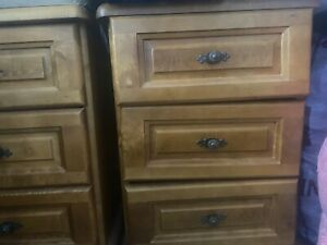 Harrods Heavy Solid Cherry Wood BEDSIDE TABLES