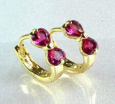 Girl Lady 14K Yellow Gold Plated Ruby Red Heart Shape 12mm Small Hoop Earrings