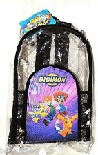 "NEW ~DIGIMON  VYNIL TRANSLUCENT 16"" X 10"" BACKPACK"