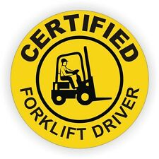Certified Forklift Driver Hard Hat Decal / Helmet Sticker Fork Lift Tow Motor