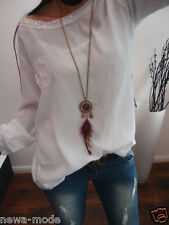 Bluse 44 46 Pailletten Blogger Shirt Tunika Italy Glitzer Chic Weiß Boho XL A20
