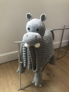 hippopotamus baby blanket crochet handmade( made to order)