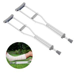 Adjustable Lightweight Aluminium Underarm Adult short Crutches Pair Walking Aid