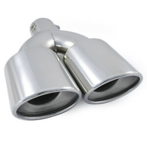 Universal Twin Dual Exhaust Tip Trim Pipe Tail Muffler Stainless Steel Chrome