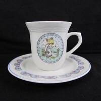 Precious Moments Cup and Saucer Set Girl with Goose and Frog