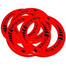 Pack of 4 Red Flying Rings - Fun Outdoor Summer Toys - Frisbee Type Toys