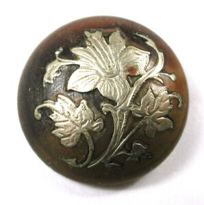 """Antique Button Horn Dome w Silver Flower Inlay - Beautiful! 7/8""""   1890s"""