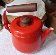 Aubeco Red Enameled Teapot,  France