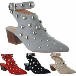 WOMENS MID LOW BLOCK HEEL STUDS POINTY TOE ANKLE STRAP LADIES SHOE BOOTS SIZE