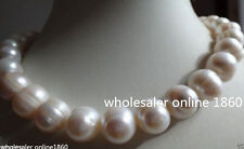 """HUGE Natural 12-14MM SOUTH SEA GENUINE WHITE BAROQUE PEARL NECKLACE 18"""" AAA+"""