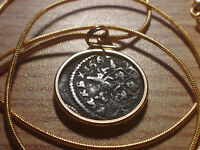"1661 Spanish Silver 8 Maravedis Coin Pendant 18KGF 24"" Gold Filled Snake Chain."