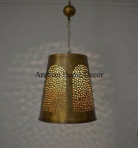 Middle Eastern Moroccan Oxidize Gold Brass Hanging Lamp Lantern Pendant Light