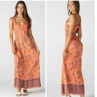 NWT Angie Open Back Print Floral boho Summer Sun Maxi beach Orange Dress S/M/L
