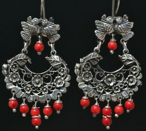 TAXCO MEXICAN 925 SILVER KISSING BIRDS CORAL DANGLE EARRINGS FRIDA KAHLO STYLE