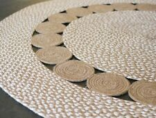 round Natural and White Circles Design Round Rug