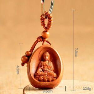 Wood Carving Chinese Bhaisajyaguru Medicine Buddha Statue Pendant Key Chain Ring