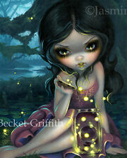 Jasmine Becket-Griffith art print SIGNED Releasing Fireflies fairy lightning bug