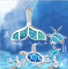 Cute Sea Animal Turtle 925 Silver Blue Fire Opal Pendant Necklace FashionJewelry